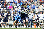 DURHAM, NC - APRIL 08: Duke's Ethan Powley (left) and Notre Dame's John Sexton (46). The Duke University Blue Devils hosted the University of Notre Dame Fighting Irish on April 8, 2017, at Koskinen Stadium in Durham, NC in a Division I College Men's Lacrosse match. Duke won the game 11-8.