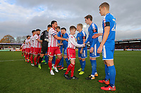 The teams shake hands during Stevenage vs Notts County, Sky Bet EFL League 2 Football at the Lamex Stadium on 11th November 2017