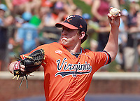 Virginia pitcher Brandon Waddell (20) throws a pitch during the game against Clemson Sunday at Davenport Field in Charlottesville, VA. Photo/Daily Progress/Andrew Shurtleff