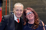 Hempstead, NY, USA. Jan. 1, 2018. L-R, U.S. Senator CHUCK SCHUMER and Hempstead Town Democratic Leader LAUREN CORCORAN-DOOLIN pose for photo after Schumer spoke at Swearing-In ceremony of Hempstead Town Supervisor Laura Gillen & Hempstead Town Clerk Sylvia Cabana at Hofstra University.