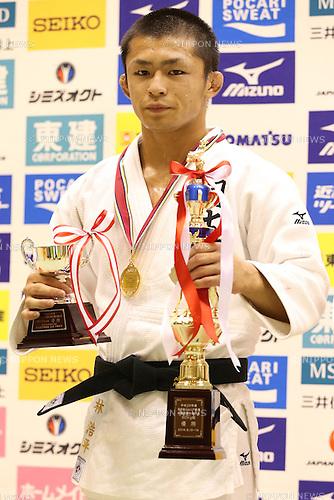 Kohei Hayashi,<br /> September 13, 2014 - Judo : <br /> All Japan Juior Judo Championships <br /> Men's -60kg Victory Ceremony<br /> at Saitama Kenritsu Budokan, Saitama, Japan. <br /> (Photo by Shingo Ito/AFLO SPORT) [1195]