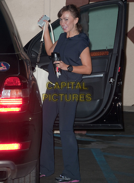 KARINA SMIRNOFF.'Dancing With The Stars' cast members leave practice session, Los Angeles, CA, USA..September 14th, 2010.full length blue tracksuit car door opening sleeveless sweatpants bag.CAP/ADM/DT.©Daniel Tanner/AdMedia/Capital Pictures.