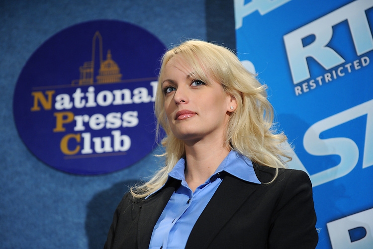 Adult film star Stormy Daniels appeared at a news conference to tout the success of Restricted to Adults (RTA) website and other efforts by the adult film industry to protect children from inappropriate material held at the National Press Club, May 29, 2008.