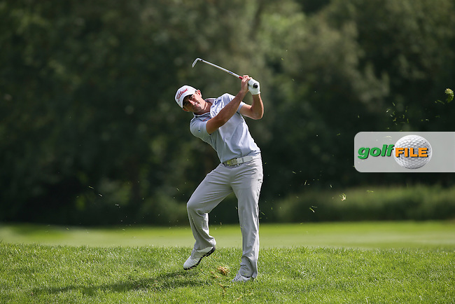 Gary Stal (FRA) jumps out of his awkward lie on the 3rd during Round One of the 2015 BMW International Open at Golfclub Munchen Eichenried, Eichenried, Munich, Germany. 25/06/2015. Picture David Lloyd | www.golffile.ie