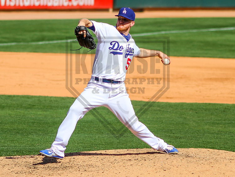 GLENDALE - March 2015: J.P. Howell (56) of the Los Angeles Dodgers during a spring training game against the Cleveland Indians on March 17th, 2015 at Camelback Ranch in Glendale, Arizona. (Photo Credit: Brad Krause)