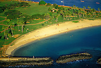 Aerial view of magic island beach park, Oahu.