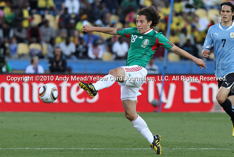 22 JUN 2010: Andres Guardado (MEX). The Mexico National Team lost 1-2 to the Uruguay National Team at Royal Bafokeng Stadium in Rustenburg, South Africa in a 2010 FIFA World Cup Group A match.