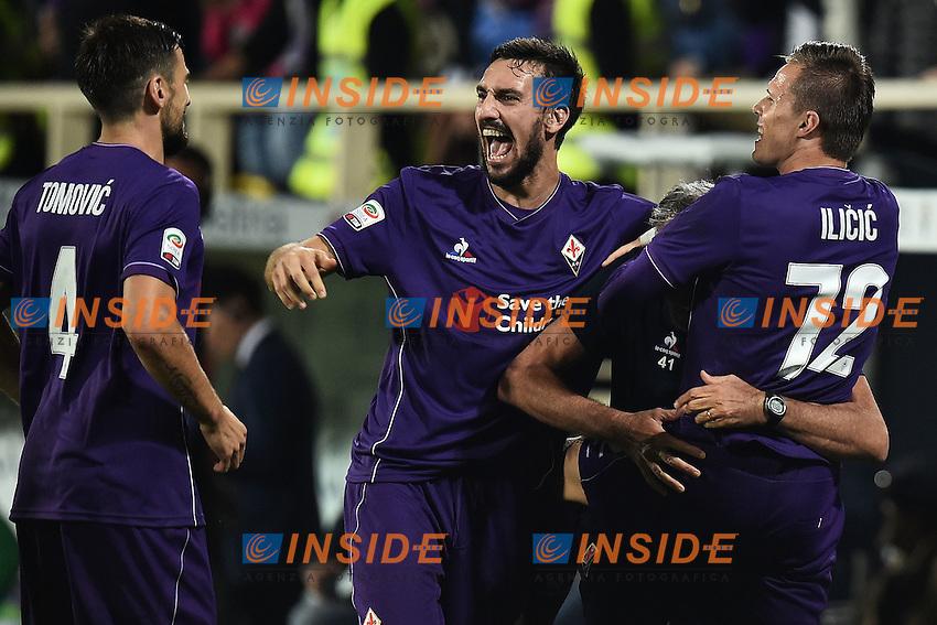 Esultanza Josip Ilicic dopo il gol 1-0 Goal celebration Fiorentina <br /> Firenze 04-10-2015 Stadio Artemio Franchi Football Calcio Serie A 2015/2016 Fiorentina - Atalanta Foto Andrea Staccioli / Insidefoto