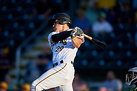 Bradenton Marauders first baseman Lucas Tancas (29) follows through on a swing during a game against the Tampa Tarpons on April 25, 2018 at LECOM Park in Bradenton, Florida.  Tampa defeated Bradenton 7-3.  (Mike Janes/Four Seam Images)