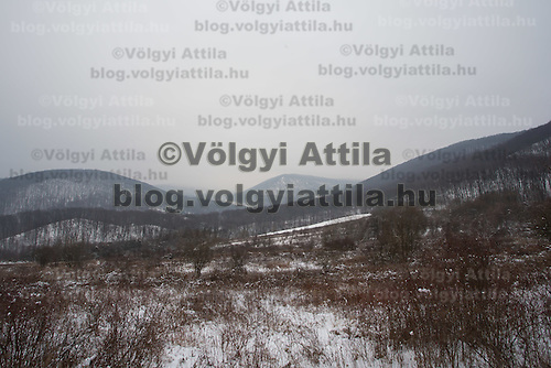Snow covered hills in the region of Pilis Hills region (about 80 km North-West of capital city Budapest), Hungary on January 08, 2015. ATTILA VOLGYI