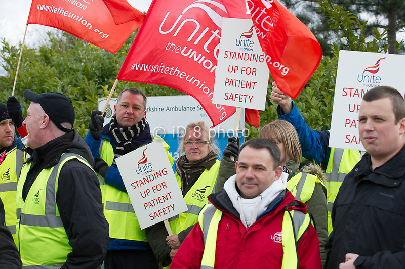 Pickets at Wakefield HQ Ambulance station.