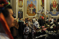 Parishioners during Christmas mass at the Christmas Church in Odessa, Ukraine on January 7, 2016.  Orthodox Christians around the world celebrate Christmas on January 7.
