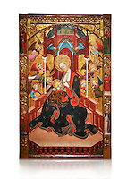 Gothic Altarpiece of the Madonna Nursing or Madonna Lactans, by Ramon de Mur, active around Tarrega and Montblanc circa 1412-1435, tempera and gold leaf on for wood, from the parish church of Santa Maria de Cervera (Segarra),  National Museum of Catalan Art, Barcelona, Spain, inv no: MNAC  15818. Against a white background.