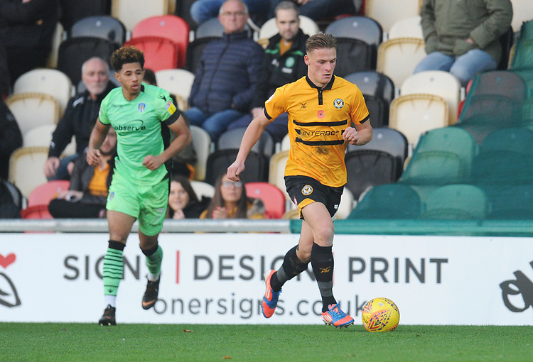 Newport County's Cameron Pring<br /> <br /> Photographer Kevin Barnes/CameraSport<br /> <br /> The EFL Sky Bet League Two - Newport County v Colchester United - Saturday 17th November 2018 - Rodney Parade - Newport<br /> <br /> World Copyright © 2018 CameraSport. All rights reserved. 43 Linden Ave. Countesthorpe. Leicester. England. LE8 5PG - Tel: +44 (0) 116 277 4147 - admin@camerasport.com - www.camerasport.com