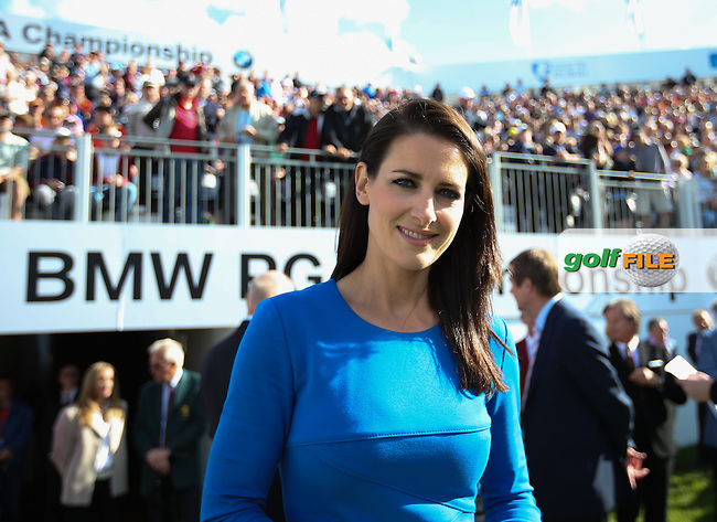 Sky Sports Presenter Kirsty Gallacher is MC at the Prize Ceremony of the BMW PGA Championship from Wentworth Golf Club, Virginia Waters, London, UK. Picture:  David Lloyd / www.golffile.ie