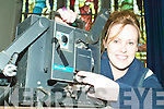 For reel: Trish McMahon of St John's with the old 35mm projector that would have been used for John Lynch's films years ago, which also screened as part of a film programme at the Listowel theatre on Wednesday.