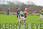 IT Tralee's Fergal Collins gets his pass away from Kerry's oncoming Daniel Collins in the Waterford Crystal Cup at Abbeydorney on Sunday..
