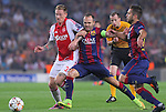 21.10.2014 Barcelona, Spain. UEFA Champions League matchday 3 Group 3. Picture show Niki Zimling (L) and Abdres Iniesta (R) in action during game between FC Barcelona against Ajax at Camp Nou