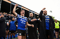 Freddie Burns, Max Clark and Tom Dunn of Bath Rugby celebrate from the sidelines. Gallagher Premiership match, between Bath Rugby and Wasps on May 5, 2019 at the Recreation Ground in Bath, England. Photo by: Patrick Khachfe / Onside Images