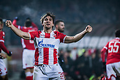 7th December 2017, Rajko Mitic Stadium, Belgrade, Serbia, UEFA Europa League football, Red Star Belgrade versus FC Cologne; Defender Filip Stojkovic of Red Star Belgrade celebrates their goal for 1-0
