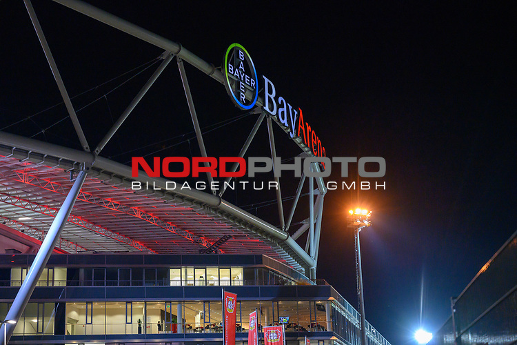 29.11.2018, BayArena, Leverkusen, Europaleque, Vorrunde, GER, UEFA EL, Bayer 04 Leverkusen (GER) vs. Ludogorez Rasgrad (BUL),<br />  <br /> DFL regulations prohibit any use of photographs as image sequences and/or quasi-video<br /> <br /> im Bild / picture shows: <br /> naechtlich beleuchtetes Stadion <br /> <br /> Foto © nordphoto / Meuter<br /> <br /> <br /> <br /> Foto © nordphoto / Meuter