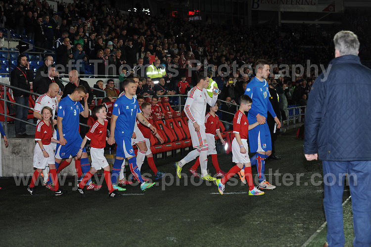 The teams enter the stadium. Cardiff City Stadium, Cardiff, Wales, Wednesday 5th March 2014. The Football Association of Wales - Vauxhall International Friendly - Wales v Iceland. Pictures by Jeff Thomas Photography - www.jaypics.photoshelter.com - Contact: thomastwotimes@live.co.uk - 07837 386244