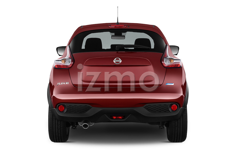 Straight rear view of a 2015 Nissan JUKE TEKNA 5 Door SUV 2WD Rear View  stock images