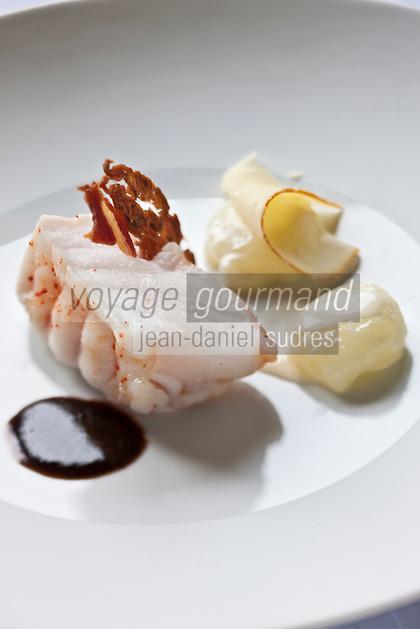 Europe/France/Bretagne/29/Finistère/Plomodiern:Lotte nacrée, gnocchi au lait fermenté, jus pinot noir, recette d' Olivier Bellin de l'Auberge des Glazicks