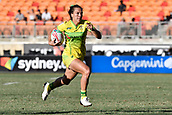 3rd February 2019, Spotless Stadium, Sydney, Australia; HSBC Sydney Rugby Sevens; New Zealand versus Australia; Womens Final; Evania Pelite of Australia makes a break for the try line