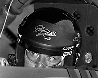 Dale Earnhardt in his race car as we waits to qualify at Darlington, SC in September 1994. (Photo by Brian Cleary)