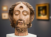 London, England. 15 October 2014. The Head of Saint John the Baptist, 16/17th Century, Anonymous Spanish,  Richard L Feigen & Co Gallery.  Fine art fair Frieze Masters 2014 in Regent's Park, London. Photo: Bettina Strenske