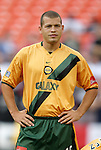 19 May 2004: Alejandro Moreno, seen here during pregame player introductions, scored the second fastest hat trick in league history with his goals in the 35th, 39th, and 43rd minutes. Including his previous game, he established a league record by scoring on five consecutive shots. Los Angeles Galaxy defeated DC United 4-2 at RFK Stadium in Washington, DC during a regular season Major League Soccer game...