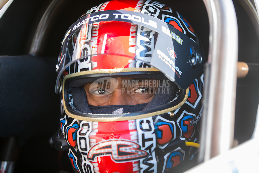Nov 11, 2016; Pomona, CA, USA; NHRA top fuel driver Antron Brown during qualifying for the Auto Club Finals at Auto Club Raceway at Pomona. Mandatory Credit: Mark J. Rebilas-USA TODAY Sports