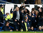 Duncan Ferguson stand in manager of Everton celebrates the third goal during the Premier League match at Goodison Park, Liverpool. Picture date: 7th December 2019. Picture credit should read: Simon Bellis/Sportimage