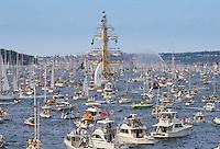 Tall Ships flotilla in Sydney Harbour for Australia's Bicentenary, 1988