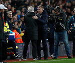 Steve Bruce manager of Newcastle United and Dean Smith manager of Aston Villa hug at the end of the match during the Premier League match at Villa Park, Birmingham. Picture date: 25th November 2019. Picture credit should read: Darren Staples/Sportimage