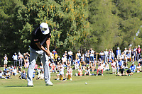 Hideto Tanihara (JPN) putts on the 5th green during Saturday's Round 3 of the 2018 Omega European Masters, held at the Golf Club Crans-Sur-Sierre, Crans Montana, Switzerland. 8th September 2018.<br /> Picture: Eoin Clarke | Golffile<br /> <br /> <br /> All photos usage must carry mandatory copyright credit (&copy; Golffile | Eoin Clarke)