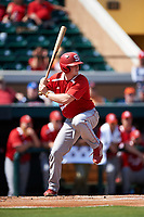 Florida Southern Moccasins Sam Machonis (32) at bat during an exhibition game against the Detroit Tigers on February 29, 2016 at Joker Marchant Stadium in Lakeland, Florida.  Detroit defeated Florida Southern 7-2.  (Mike Janes/Four Seam Images)