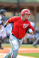 Washington Nationals infielder Matt Skole during a minor league Spring Training game against the Detroit Tigers at Tiger Town on March 22, 2013 in Lakeland, Florida.  (Mike Janes/Four Seam Images)