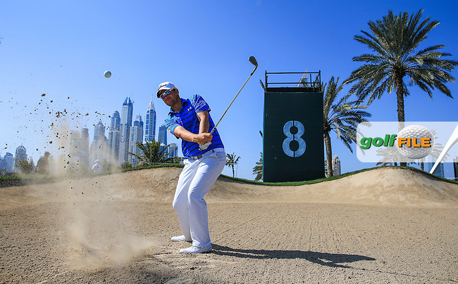 Bernd Wiesberger (AUT) during a practice round ahead of the 2016 Omega Dubai Desert Classic, played on the Emirates Golf Club, Dubai, United Arab Emirates.  02/02/2016. Picture: Golffile | David Lloyd<br /> <br /> All photos usage must carry mandatory copyright credit (&copy; Golffile | David Lloyd)