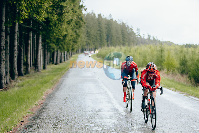 Leah Kirchmann (CAN) Team Sunweb and Maria Novolodskaya (RUS) Cogeas-Mettler out front during a very wet 2019 Liège-Bastogne-Liège Femmes, running 138.5km from Bastogne to Liege, Belgium. 28th April 2019<br /> Picture: ASO/Thomas Maheux | Cyclefile<br /> All photos usage must carry mandatory copyright credit (© Cyclefile | ASO/Thomas Maheux)