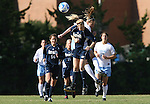 24 November 2007: Notre Dame's Amanda Clark (7) and North Carolina's Whitney Engen (behind) challenge for a header. The University of Notre Dame Fighting Irish defeated University of North Carolina Tar Heels 3-2 at Fetzer Field in Chapel Hill, North Carolina in a Third Round NCAA Division I Womens Soccer Tournament game.