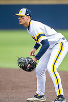 Michigan Wolverines first baseman Drew Lugbauer (17) on defense against the Bowling Green Falcons on April 6, 2016 at Ray Fisher Stadium in Ann Arbor, Michigan. Michigan defeated Bowling Green 5-0. (Andrew Woolley/Four Seam Images)