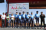 Movistar Team at sign on before the start of Stage 14 of La Vuelta 2019  running 188km from San Vicente de la Barquera to Oviedo, Spain. 7th September 2019.<br /> Picture: Luis Angel Gomez/Photogomezsport | Cyclefile<br /> <br /> All photos usage must carry mandatory copyright credit (© Cyclefile | Luis Angel Gomez/Photogomezsport)