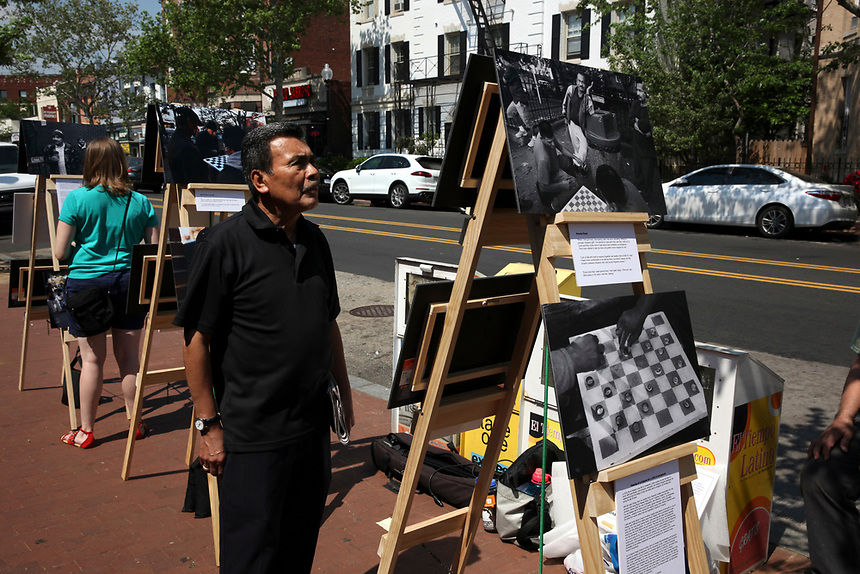 (180512RREI0066) La Esquina Project goes to La Esquina.  The documentary project La Esquina revolves around the history of the Latinos at the corner of Mt. Pleasant St. and Kenyon St. NW.Washington DC. May 12, 2018 . ©  Rick Reinhard  2018     email   rick@rickreinhard.com