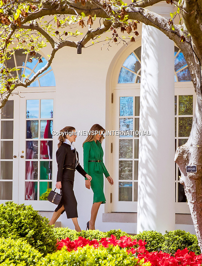 05.04.2017; Washington DC, USA: QUEEN RANIA AND FIRST LADY MELANIA TRUMP<br /> at The White House, Washington<br /> Mandatory Photo Credit: &copy;RHC/NEWSPIX INTERNATIONAL<br /> <br /> PHOTO CREDIT MANDATORY!!: NEWSPIX INTERNATIONAL(Failure to credit will incur a surcharge of 100% of reproduction fees)<br /> <br /> IMMEDIATE CONFIRMATION OF USAGE REQUIRED:<br /> Newspix International, 31 Chinnery Hill, Bishop's Stortford, ENGLAND CM23 3PS<br /> Tel:+441279 324672  ; Fax: +441279656877<br /> Mobile:  0777568 1153<br /> e-mail: info@newspixinternational.co.uk<br /> &ldquo;All Fees Payable To Newspix International&rdquo;