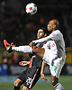New York Cosmos No. 19 Marcos Senna, right, kicks a ball away from Ottawa Fury No. 20 Mauro Eustaquio during the first half of the NASL Championship at Shuart Stadium, located on the campus of Hofstra University, on Sunday, Nov. 15, 2015. The Cosmos won the match by a score of 3-2.<br /> James Escher