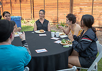 Barbara Gillett Valiente, AVP of Finance/Controller<br /> Incoming first-years participating in MSI have dinner with Oxy faculty and staff in the ICC backyard, July 31, 2018.<br /> The Multicultural Summer Institute (MSI) is a four-week academic/residential program for approximately 50 incoming first-year students who represent a variety of ethnic, regional and cultural backgrounds. Through MSI, Occidental College introduces its student body to the social, cultural and intellectual resources of Southern California, and familiarizes students with the Oxy community and surrounding Los Angeles area.<br /> (Photo by Marc Campos, Occidental College Photographer)