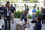 Federal Minister for Sport, Kate Ellis chats with members of the Australian team at the announcement of the Australian Flag bearer function, 5 Spetember, 2008. Paralympic Village..