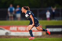 Sky Blue FC forward Lisa De Vanna (11) celebrates scoring. Sky Blue FC defeated the Seattle Reign FC 2-0 during a National Women's Soccer League (NWSL) match at Yurcak Field in Piscataway, NJ, on May 11, 2013.